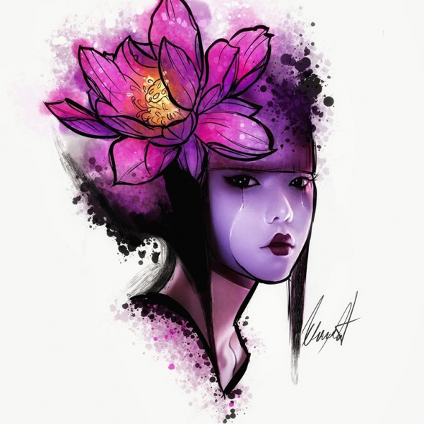 Geisha tattoo design with a lotus flower in mix realistic color and watercolour style