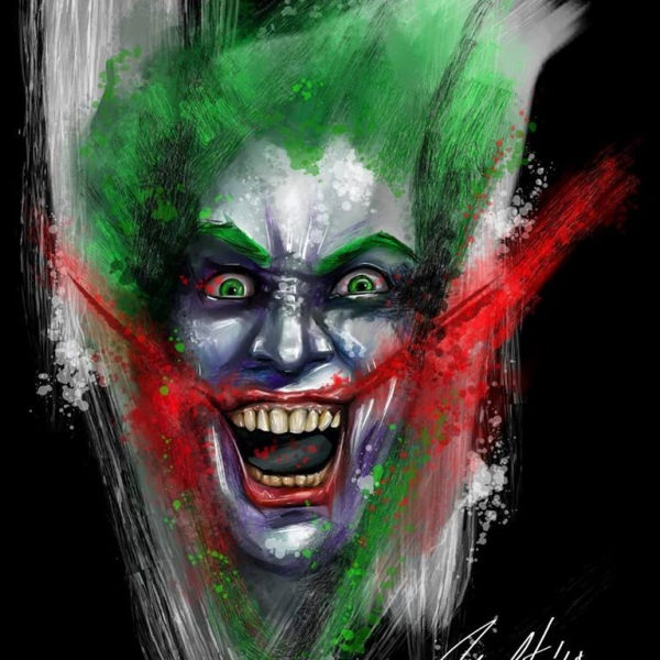 Custom designed Joker face in aquarelle style